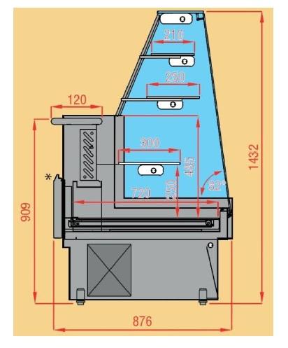 Hladilna vitrina za prodajo slaščic   RIVO VI 280